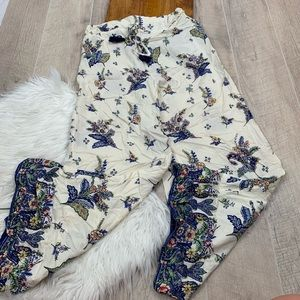 Angie Floral Wide Leg Elastic Waist Pants 3217